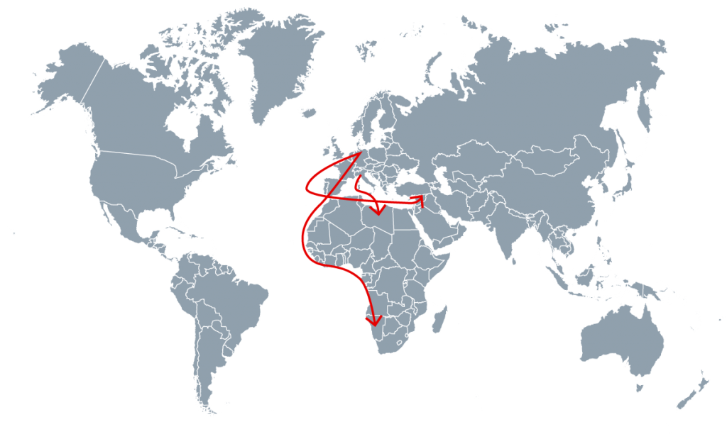 Karte mit Transportwege